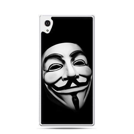 Maska anonimus etui z nadrukiem dla Xperia Z2 twarde plastikowe