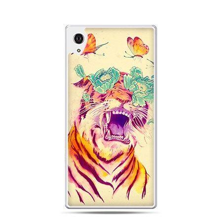 Tygrys z motylami etui z nadrukiem dla Xperia Z2 twarde plastikowe