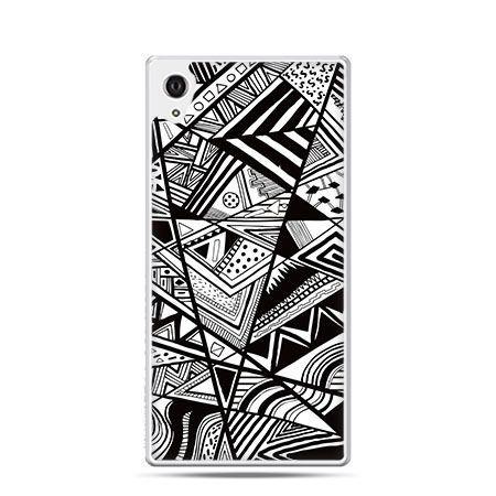 Trójkąty czarno białe etui z nadrukiem dla Xperia Z2 twarde plastikowe