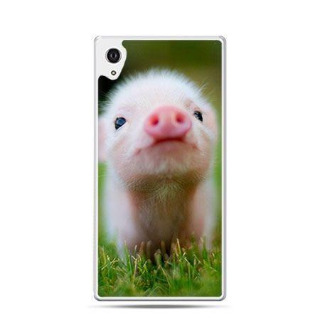 Słodka świnka etui z nadrukiem dla Xperia Z2 twarde plastikowe