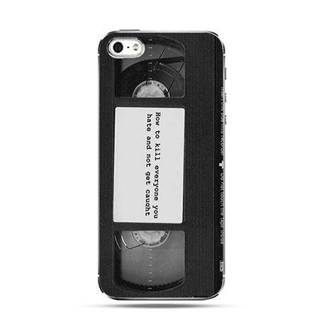 Etui na telefon kaseta video z napisem